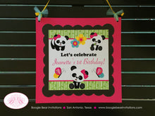 Load image into Gallery viewer, Pink Panda Bear Birthday Door Banner Girl Party Black Blue Green Butterfly Jungle Stripe 1st 2nd 3rd Boogie Bear Invitations Jeanette Theme