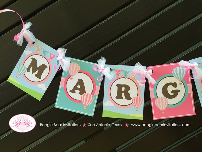 Hot Air Balloon Birthday Party Banner Small Pink Teal Aqua Turquoise Brown Ribbon Girl 1st 2nd 3rd Boogie Bear Invitations Margaret Theme