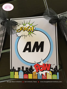 Retro Superhero I am 1 Highchair Banner Birthday Party Super Girl Boy Red Blue Cityscape Comic 1st 2nd 3rd Boogie Bear Invitations Max Them
