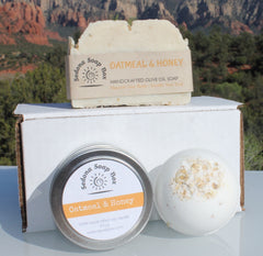 Mother's Day Bundle Oatmeal Honey Candle, bath bomb and Vegan Soap
