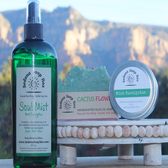 Mint Eucalyptus Candle, Soul Mist, and Cactus Flower Soap Gift Set