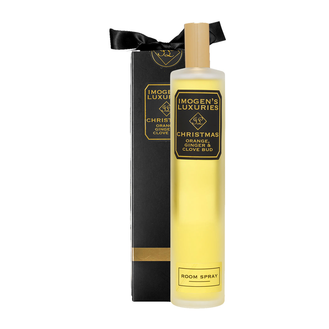 Christmas Room Spray: Fragranced with Orange, Cinnamon, Clove and Ginger essential Oils. 100ml £14.00 - Imogen's Luxuries