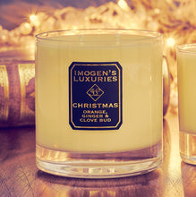 Christmas Home candle unlit. 325g Soy wax fragranced with Orange, Cinnamon, Clove andGinger Essential oils. Handmade in England by a mother and daughter team.