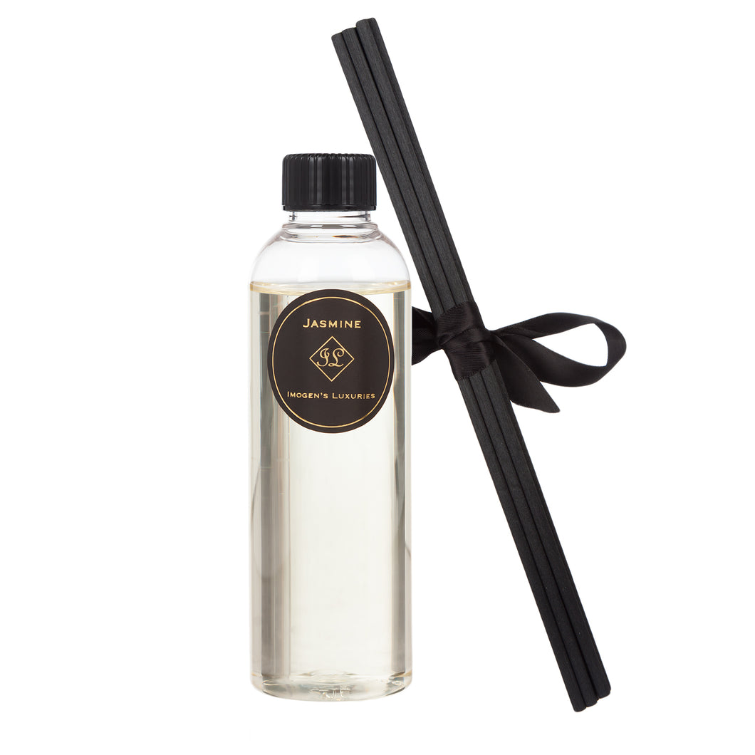 Jasmine 200ml Reed Diffuser Refill - More Fragrance per Bottle than Eau de Parfum. Comes with 6 Thicke Back Reeds and a Funnel to Make Pouring Easier