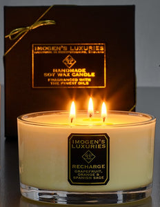 Recharge 3 wick candlen burning. Scented with Grapefruit, Orange and Spanish Sage Essential Oils. 500g Natural wax. £35.00. Handmade by Imogen's Luxuries