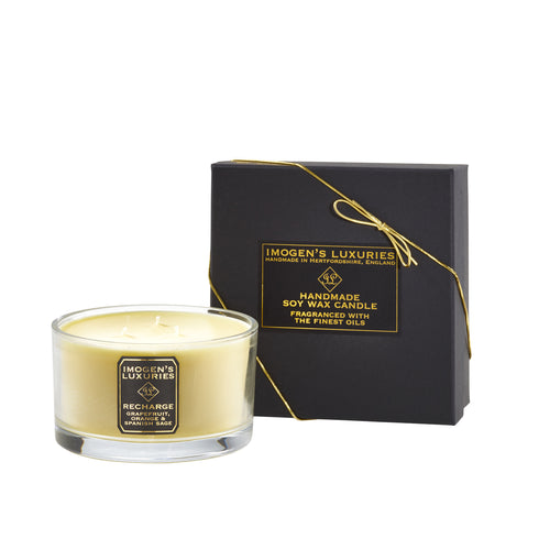 Recharge 3 Wick Candle scented with Grapefruit, Orange & Spanish Sage Essential Oils.  Handmade with 500g natural wax and purre cotton wicks. Free from paraffin wax, synthetic fragrances & synthetic colours. £35.00. Handmade by Imogen's Luxuries in Hertfordshire, England
