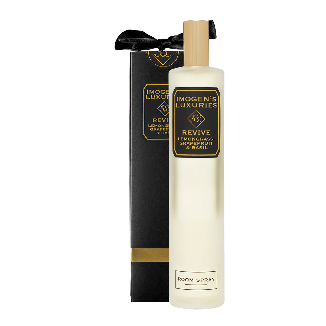 Revive Room Spray: Fragranced with Lemongrass, Grapefruit & Basil essential oils. 100ml £14.00 Imogen's Luxuries
