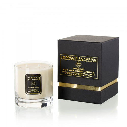 Unwind Home Candle: Fragranced with Patchouli, Cedar & Eucalyptus Essential Oils. Handpoured with 320g natural wax. £24