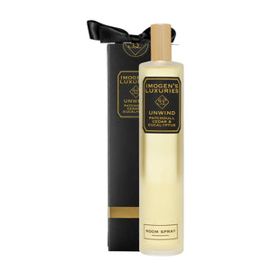 Unwind Room Spray: Fragranced with Patchouli, Cedar & Eucalyptus esential oils. 100ml £14 Imogen's Luxuries
