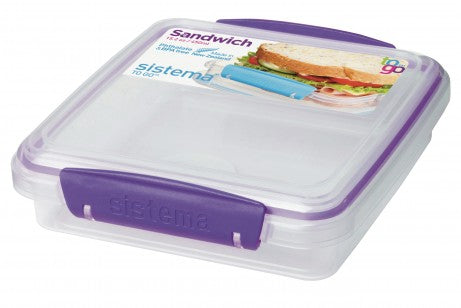 Sistema To Go Collection Sandwich Box Food Storage Container, 15.2 oz - PURPLE