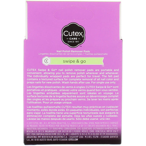 Cutex Swipe and Go Nail Polish Remover Pads - 10ct