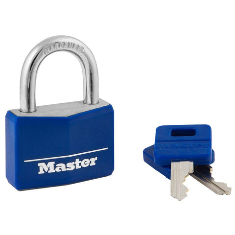 Master Lock 142DCM Covered Aluminum Keyed Padlock, 1-Pack, Blue