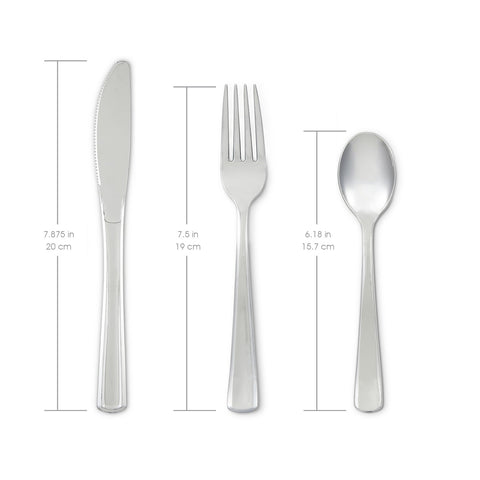 Mozaik Premium Plastic Classic Stainless Steel Coated Assorted Cutlery, 32 pieces