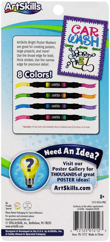 "ArtSkills Washable Bright Markers, 1/2"" Tip, 4 Pieces, 8 Colors (PA-1212)"