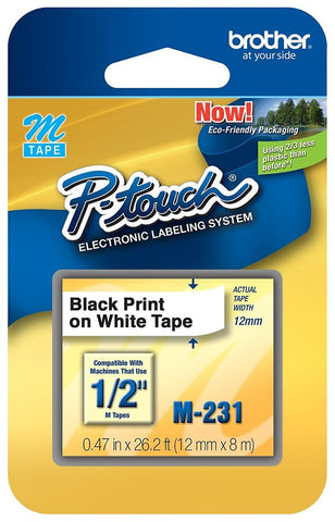 "Brother Genuine P-touch M-231 Tape, 1/2"" (0.47"") Standard P-touch Tape, Black on White, for Indoor Use,Single-Pack (You Donate: $1.25)"
