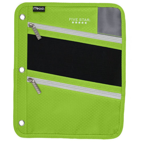Five Star Zipper Pouch, Pencil Pouch, Pen Holder, Fits 3 Ring Binders, Lime / Gray (50642BF7)