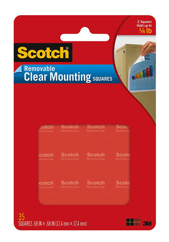 Scotch Removable Mounting Squares, 0.68 in x 0.68 in, Clear