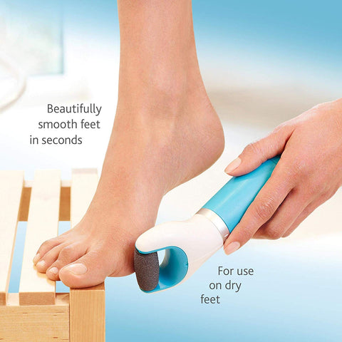 Amope Pedi Perfect Electronic Foot File Dry Foot File, Callous Remover for Feet, Hard and Dead Skin- Regular Coarse, Blue. Battery Operated. Batteries Included. Baby Smooth Feet in Minutes, 1 Count