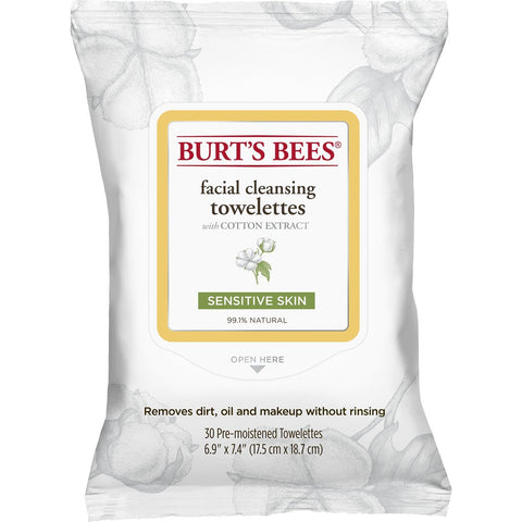 Burt's Bees Facial Cleansing Towelettes for Sensitive Skin- 30 Count