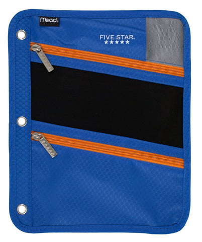 Five Star Pencil Pouch, Pen Case, Fits 3 Ring Binder, Zipper Pouch, Blue/Orange (50642CB8)