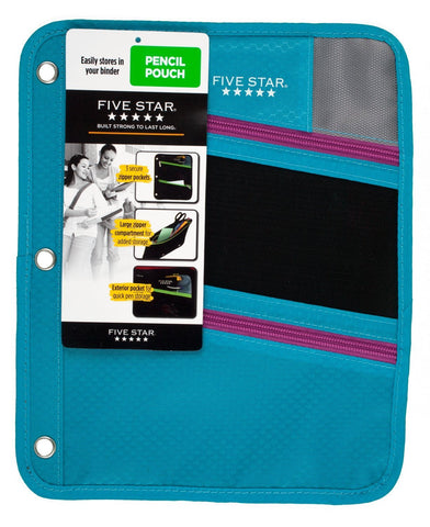 Five Star Pencil Pouch, Pen Case, Fits 3 Ring Binder, Zipper Pouch, Teal/Pink (50642CN8)