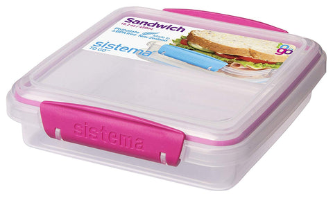 Sistema To Go Collection Sandwich Box Food Storage Container, 15.2 oz - PINK