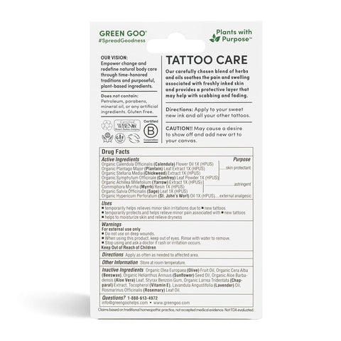 Green Goo All-Natural Skin Care, Tattoo Aftercare, Large Tin, 1.82 Ounce