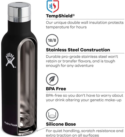 Hydro Flask 25 oz Wine Bottle - Stainless Steel & Vacuum Insulated - Leak Proof Cap - Black