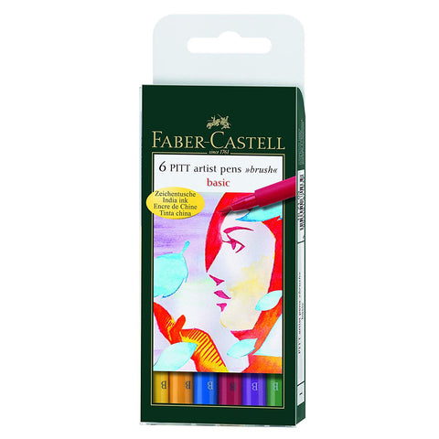 Faber-Castell PITT Artist Brush Pens, Basic, 6-Pack
