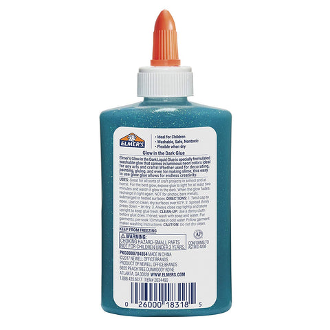 Elmer's Glow-in-the-Dark Liquid Glue, Washable, Blue, 5 Ounces, Great for Making Slime