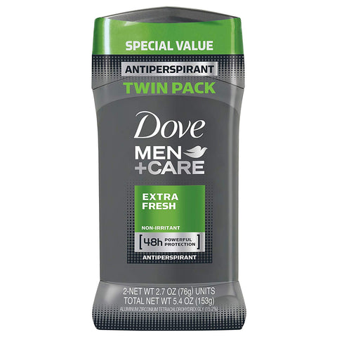 Dove Men+Care Antiperspirant Deodorant Stick, Extra Fresh, 2.7 Ounce (Pack of 2)