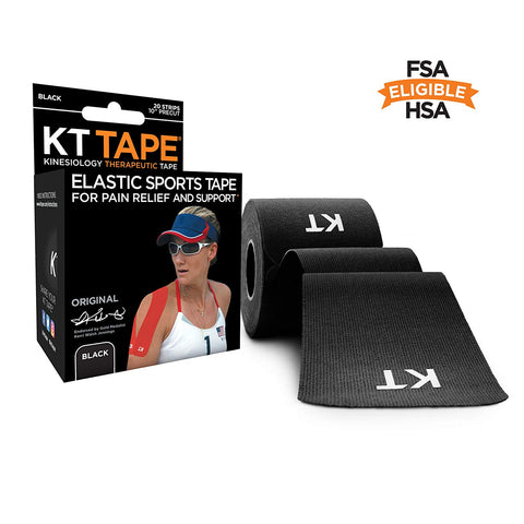 KT Tape Original Cotton Elastic Kinesiology Therapeutic Sports Tape, 14 Precut 10 inch Strips, Latex Free, Breathable, BLACK