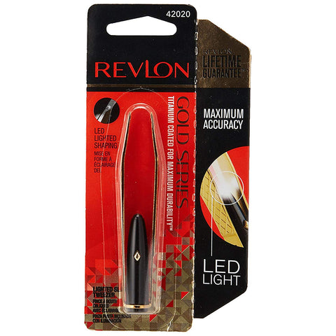 Revlon Gold Series Tweezer, Titanium Coated, Lighted, Slant Tip