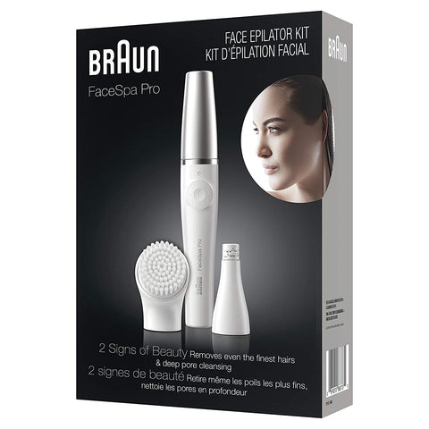 Braun Facial Epilator for Women, Facespa Pro 910 Facial Hair Removal 2 in 1 Epilating and Cleansing Brush