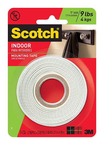 Scotch Indoor Mounting Tape, 0.5-inch x 75-inches