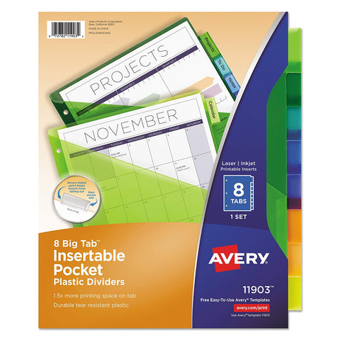Avery 11903 Insertable Big Tab Plastic Dividers w/Single Pockets, 8-Tab, 11 1/8 x 9 1/4