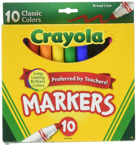 Crayola Broad Line Markers, Classic Colors 10 Each (You Donate: $.25)