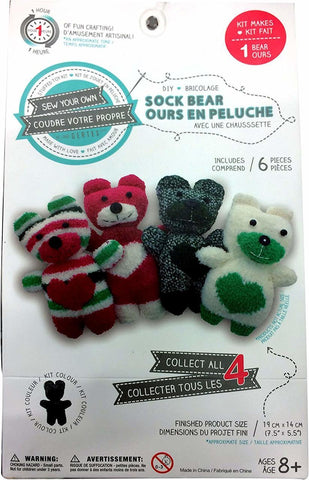 Sew Your Own DIY Sock Bear Kit - Black/Grey Striped Bear (You Donate: $.50)