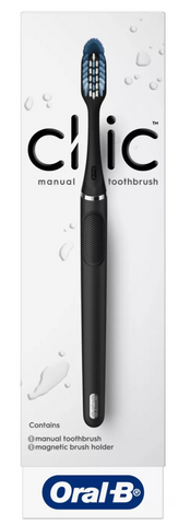 Oral-B Clic Toothbrush Matte Black with 1 Replaceable Brush Heads and Magnetic Holder