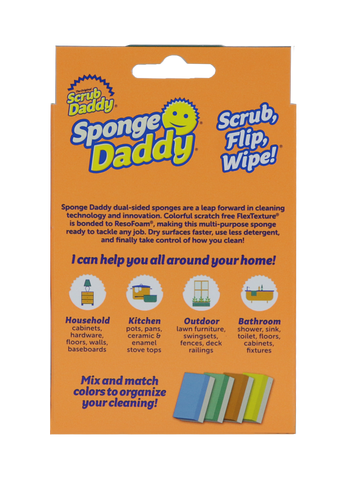 Scrub Daddy, Dual-sided Sponge Scrubber, 4 Count