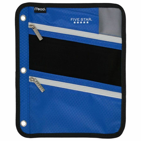 Five Star Pencil Pouch, Pen Case, Fits 3 Ring Binder, Zipper Pouch, Blue/Gray