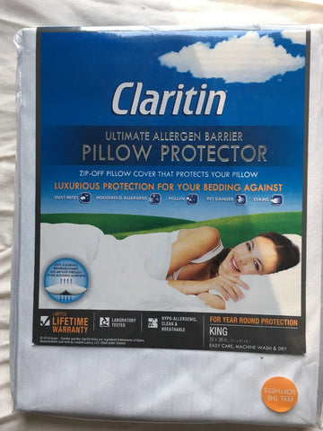 Claritin® Ultimate Allergen Barrier Embossed King Pillow Protector