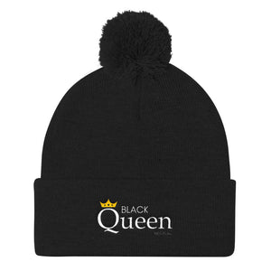 """Black Queen"" Pom Pom Knit Cap 