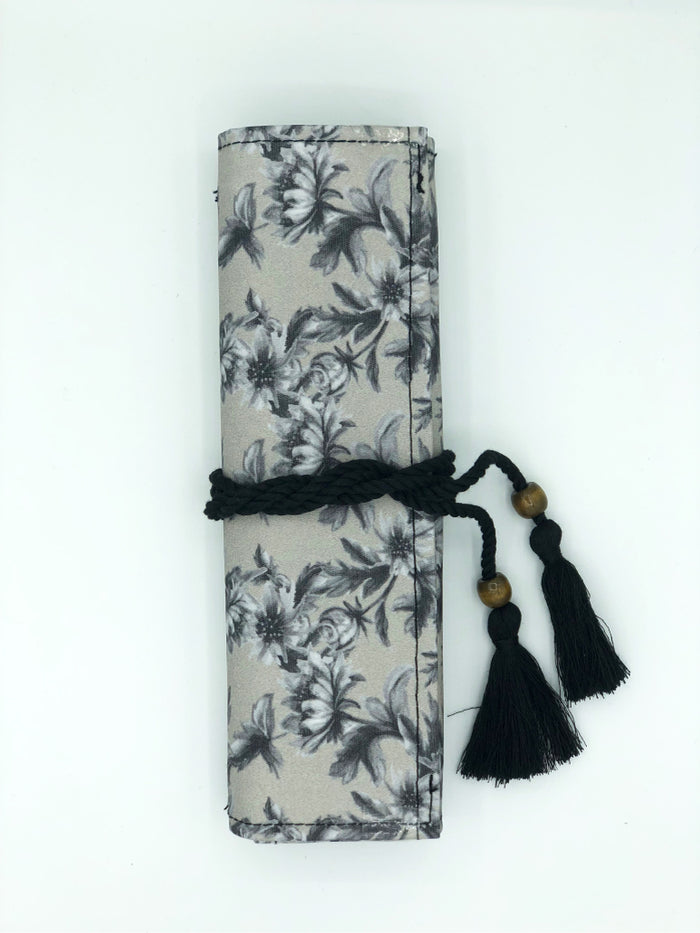 Cutlery Roll in 'Monochrome Floral'