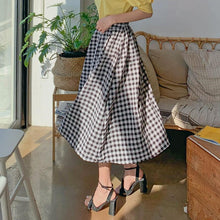 Load image into Gallery viewer, Black Checked Long Skirt