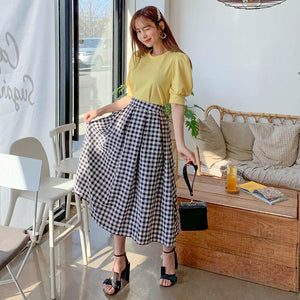 Black Checked Long Skirt