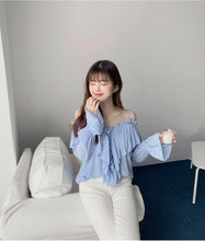 Load image into Gallery viewer, Ruffled Cold-Shoulder Blouse
