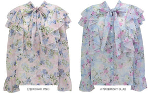 Floral Flounce Cuff Blouse (4 Colours)