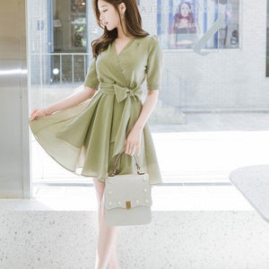 Romantic Flare Ribbon Dress