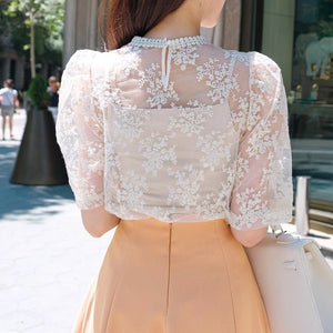 Lace Floral Embroidery Blouse Set